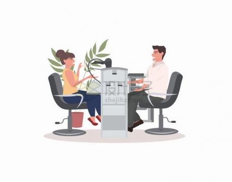 面对面坐着交流的商务人士扁平插画png图片免抠矢量素材