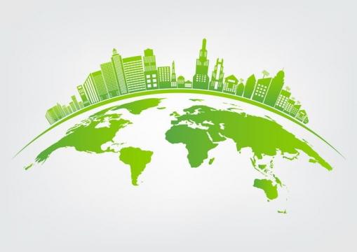 绿色的地球上的建筑城市天际线风景图图片免抠矢量素材