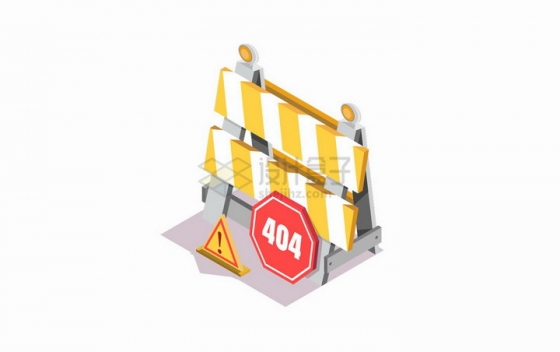 2.5D风格维修标志404错误页面png图片免抠矢量素材