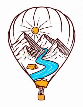 抽象热气球中的高山河流和太阳手绘插画png图片免抠矢量素材
