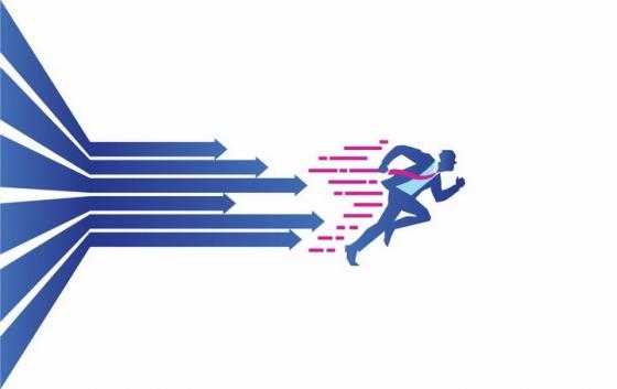 奔跑的商务人士和后面紧跟的蓝色箭头png图片免抠矢量素材