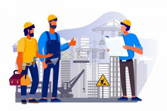 在工地上看图纸的建筑工人五一劳动节手绘插画png图片素材
