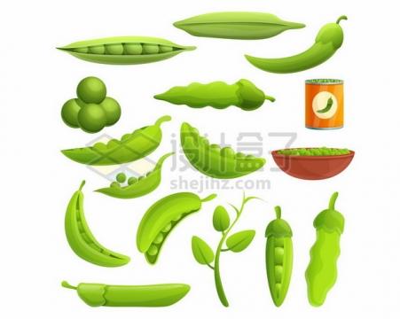各种豌豆绿豆毛豆等青豆子以及豆制品135955png图片素材