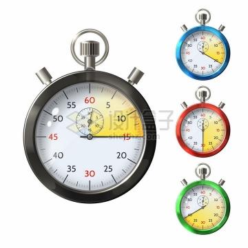 四种颜色的金属秒表计时工具png图片素材