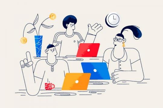 扁平插画风格正在一起讨论问题的程序员图片免抠矢量图素材