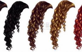 5种颜色的女性卷发造型发型png免抠图片素材