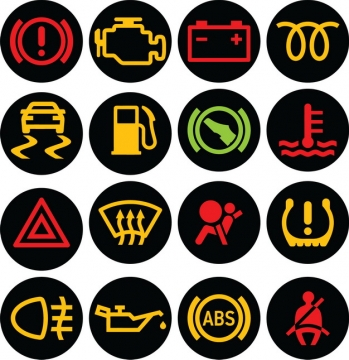 16款汽车仪表盘故障灯图案293110png图片免抠素材