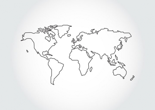 黑色线条世界地图简约风格图片免抠矢量素材