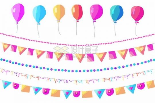 各种糖果色卡通气球小彩旗生日宴会装饰png图片免抠矢量素材