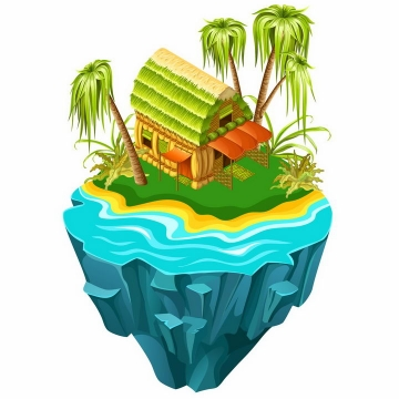 立体悬空岛悬浮岛上的热带海岛和草屋png图片免抠eps矢量素材