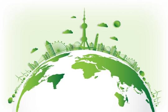 绿色地球上的东方明珠塔等世界知名旅游景点图片免抠矢量素材