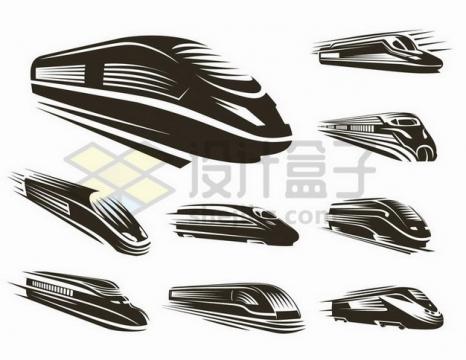 各种黑白色高速铁路高铁车头图案png图片免抠矢量素材