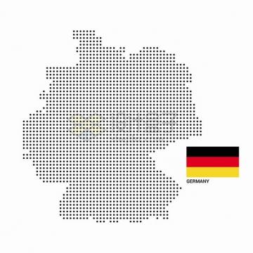 黑色圆点组成的德国地图和国旗图案png图片素材
