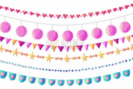 各种糖果色的卡通生日宴会小彩旗装饰png图片免抠矢量素材
