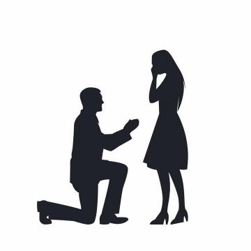单膝下跪向女友求婚的男孩人物剪影png图片免抠矢量素材