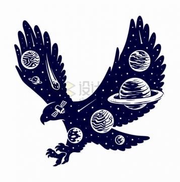 抽象展翅雄鹰中的宇宙星球手绘插画png图片免抠矢量素材