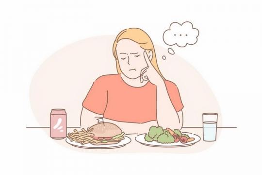 手绘线条女孩减肥餐要吃汉堡还是蔬菜png图片免抠矢量素材