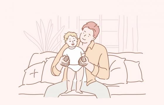 正在陪儿子玩耍的年轻爸爸手绘插画图片免抠素材