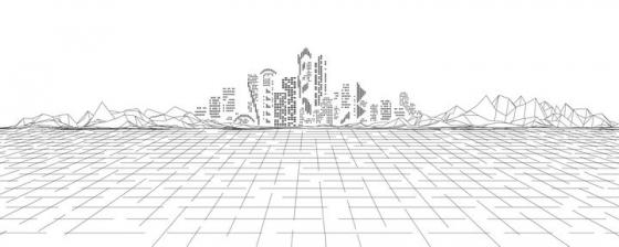 线条远处的城市天际线图片免抠矢量素材