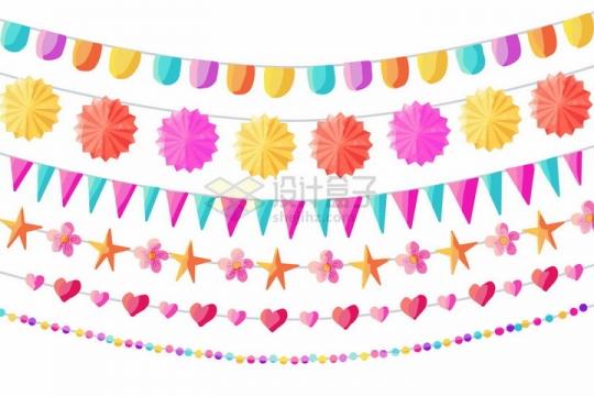 各种糖果色花纹的卡通生日宴会小彩旗装饰png图片免抠矢量素材