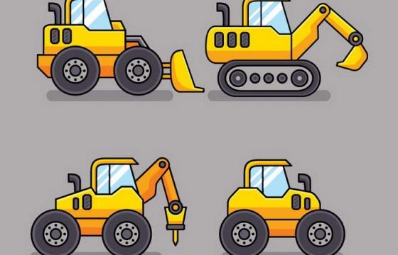 四款可爱卡通风格挖掘机压路机铲车等工程车辆侧视图免抠矢量图片素材