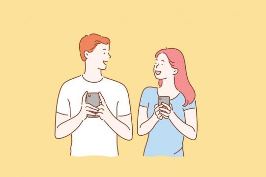 正在相互发信息的情侣手绘插画图片免抠素材