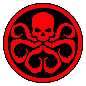 漫威中的反派组织九头蛇红黑标志LOGO漫威漫画图片免抠素材