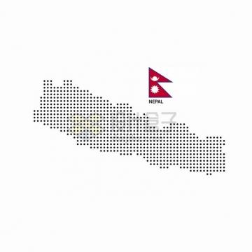 黑色圆点组成的尼泊尔地图和国旗图案png图片素材