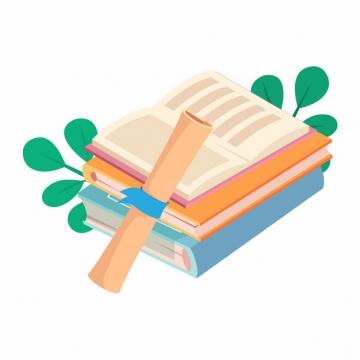 书本和毕业证书毕业季扁平插画915725png图片素材