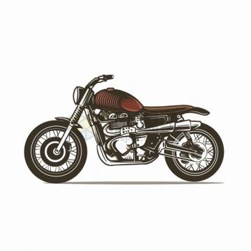 红色复古摩托车手绘漫画插画png图片素材