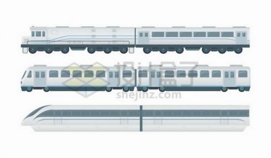 普通客运火车车厢和高铁车厢侧视图png图片免抠矢量素材