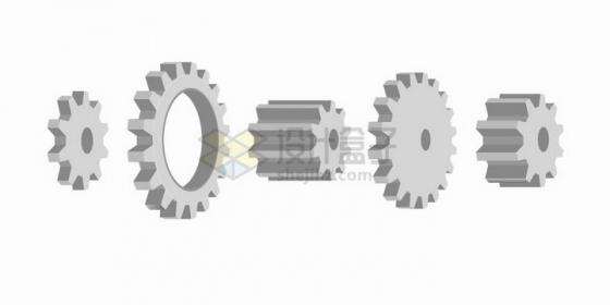 3D风格5款银灰色齿轮png图片免抠矢量素材