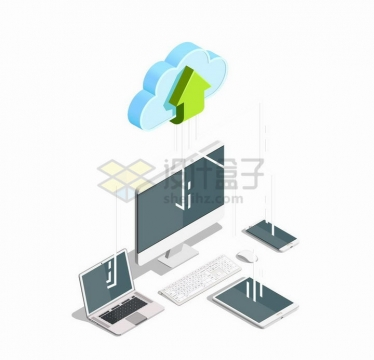 3D风格云计算技术和笔记本电脑平板电脑手机等设备png图片免抠矢量素材