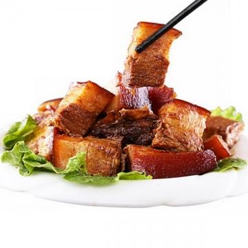 筷子夹起来的红烧肉png图片免抠素材