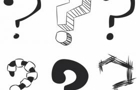 6种黑色线条涂鸦问号图案png图片免抠矢量素材