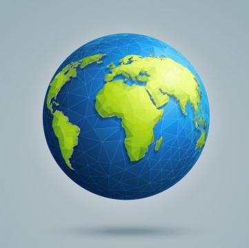 多边形组成的立体地球世界地图图片免抠矢量素材