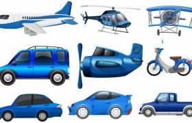 9款蓝色卡通客机直升飞机汽车螺旋桨飞机等交通工具png图片免抠矢量素材