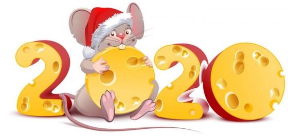 创意正在吃2020年艺术字奶酪的老鼠鼠年快乐图片免抠矢量素材