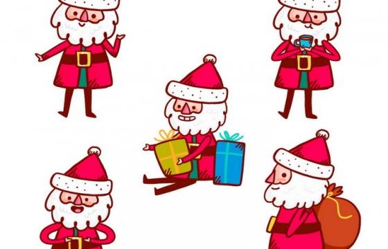 5个可爱的卡通圣诞老人圣诞节图片免抠矢量图素材