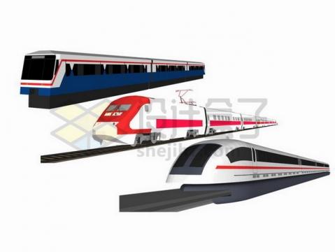 传统火车列车和高铁车厢对比图png图片免抠矢量素材