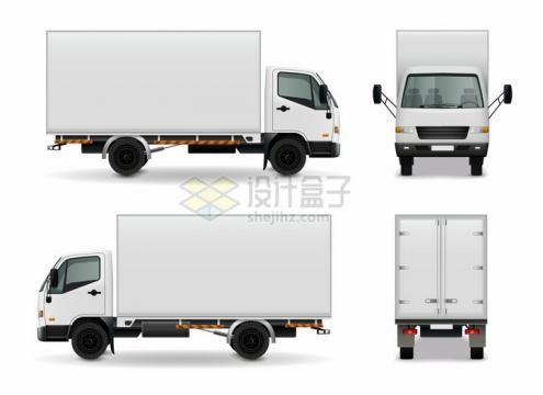 白色厢式小型货车卡车的四视图png图片素材