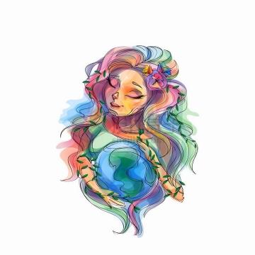 女孩抱着地球抽象油画插画png图片免抠矢量素材