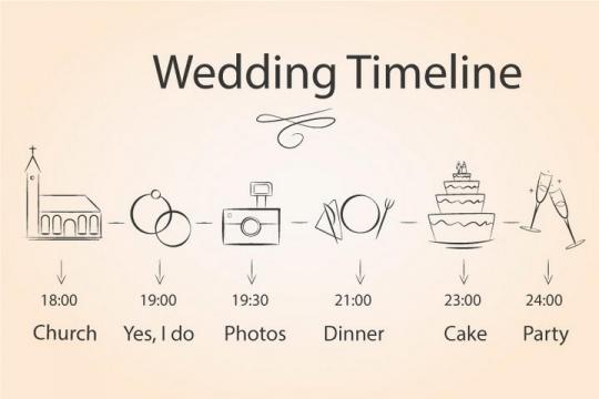 简约手绘风格婚礼时间安排表图片免抠矢量图素材