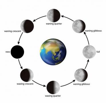 逼真的环绕地球的月相变化图月球月亮明暗交替png图片免抠矢量素材