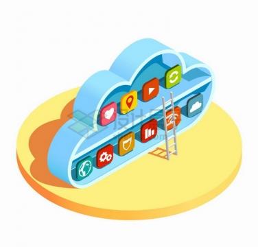 抽象云计算书架中的APP图标和梯子png图片免抠矢量素材