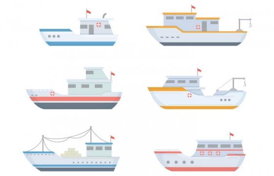 6款手绘风格轮船渔船侧视图图片免抠素材
