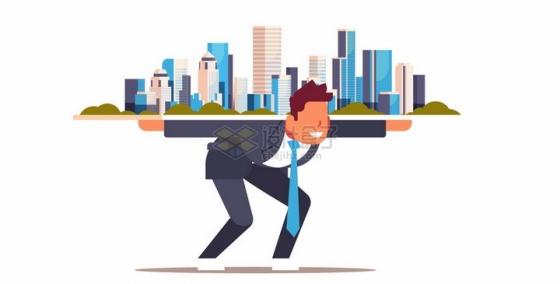 男人扛着城市象征了压力扁平插画png图片素材