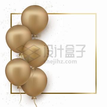 发光的金色方框文本框和金色气球装饰png图片免抠矢量素材