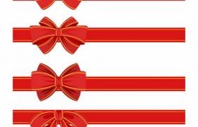 4款不一样的红色黄色蝴蝶结分隔条免抠图片素材