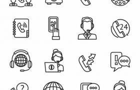 16款黑色线条客服人员电话服务手绘图标png图片免抠矢量素材